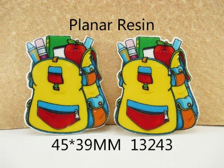 5 x 39MM SCHOOLBAG BACKPACK LASER CUT FLAT BACK RESIN HEADBAND BOWS CARD MAKING